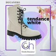 """✴️Nouvelle semaine, nouveaux modèles !!   Et parmi les tendances de cette nouvelle collection automne/hiver 🍂🍁, on retrouve """"le blanc"""",🤍🤍🤍 c'est la couleur qu'il faut absolument avoir.   🟣A retrouver en boutique et sur https://www.charlychaussures.com/  #ducanero #white #blanc #chic #newco #love"""